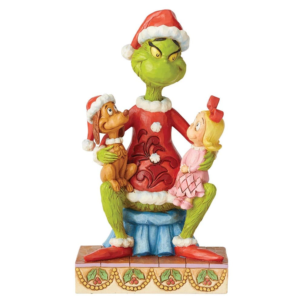 Grinch with Cindy and Max on Lap Figurine - The Grinch by Jim Shore