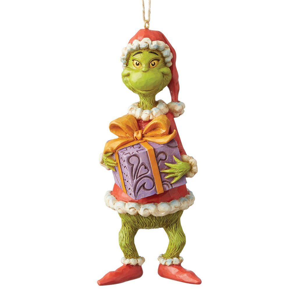 Grinch Holiding Present Hanging Ornament - The Grinch by Jim Shore