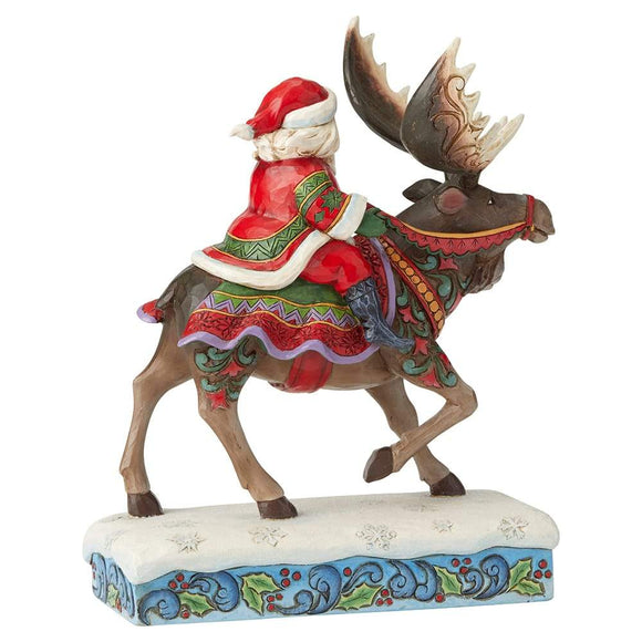 Merry Christ-Moose - Santa Riding Moose Figurine - Heartwood Creek by Jim Shore