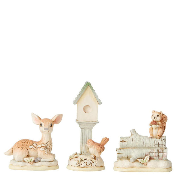 White Woodland Mini Accessory Set of 3 - Birdhouse, Deer, Squirrel Figurine - Hearwtood Creek by Jim Shore