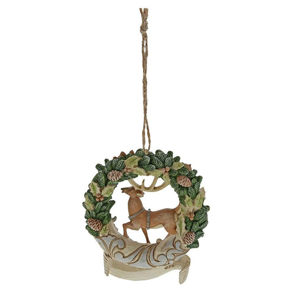 White Woodland Deer 2019 Wreath Hanging Oranment - Heartwood Creek by Jim Shore
