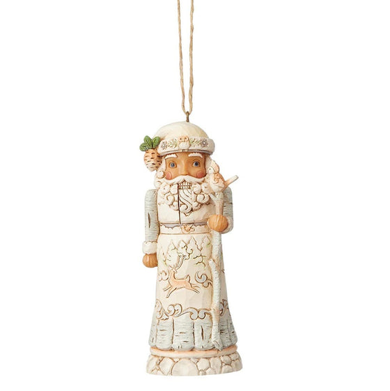 White Woodland Nutcracker Hanging Ornament - Heartwood Creek by Jim Shore