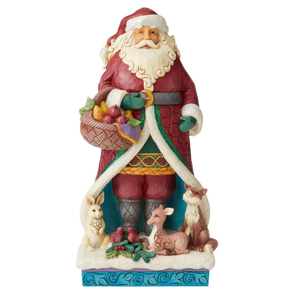 A Festive Forage - Winter Wonderland Santa with Wreath Figurine  by Jim Shore