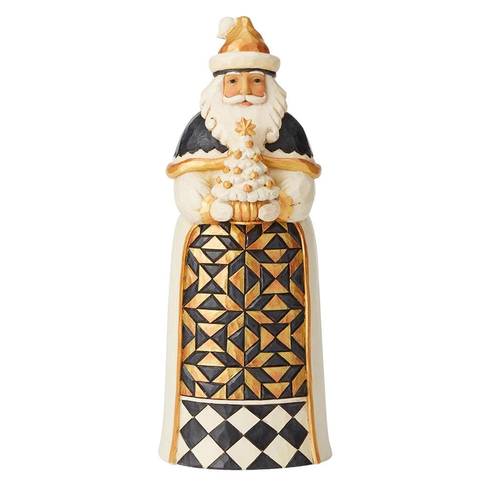 Give From The Heart - Black and Gold Santa Figurine - Heartwood Creek by Jim Shore