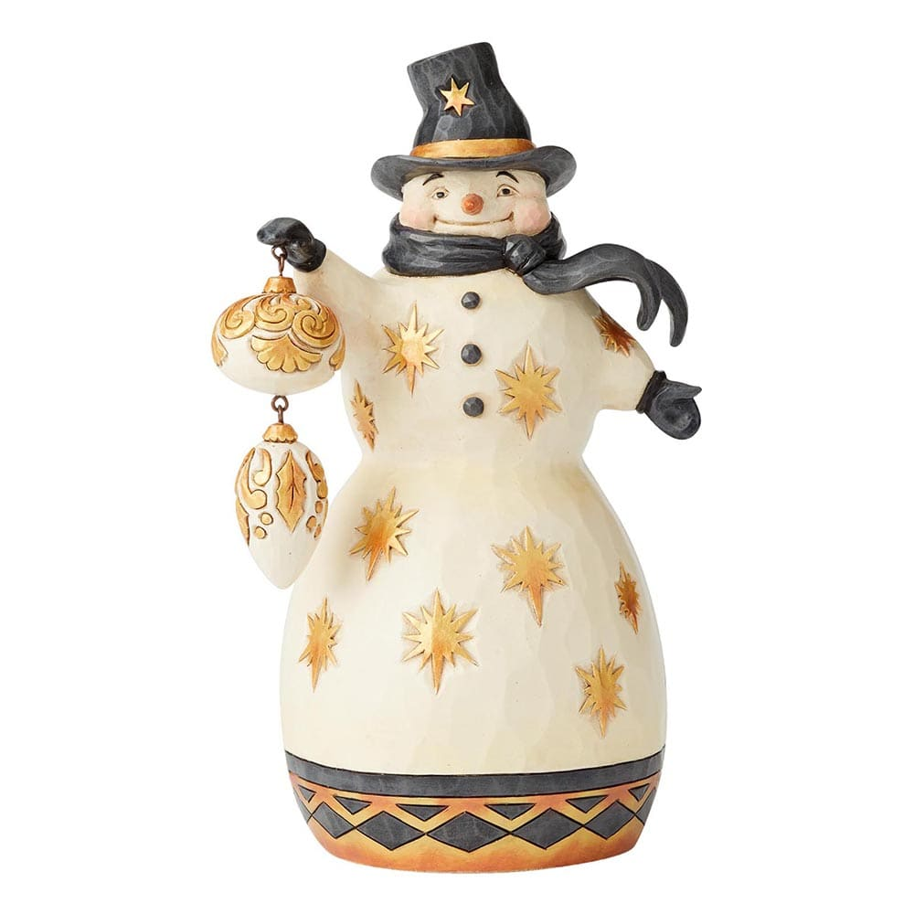 Be Merry, Be Bright - Black & Gold Snowman Figurine - Heartwood Creek by Jim Shore