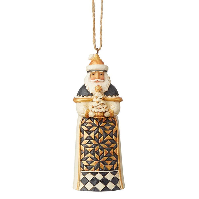 Black and Gold Santa Hanging Ornament - Heartwood Creek by Jim Shore
