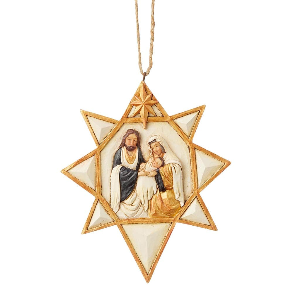 Black and Gold Nativity Star Hanging Ornament - Heartwood Creek by Jim Shore