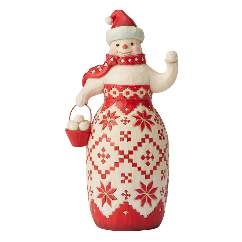Heartwood Creek by Jim Shore Ready, Set, Snowball Fight| (Nordic Noel Snowman Figurine)