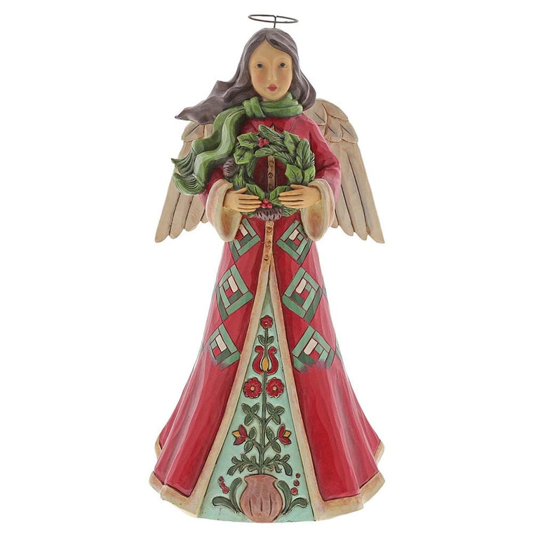 Blessings Of Home and Hearth - Angel with Wreath Figurine - Heartwood Creek by Jim Shore