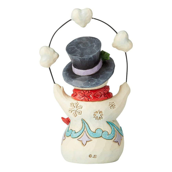 Snowman Juggling Heart and Snowballs Pint-Sized Figurine - Heartwood Creek by Jim Shore