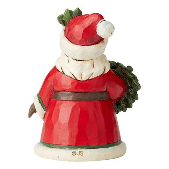Santa Holding Wreath Mini Figurine - Heartwood Creek by Jim Shore