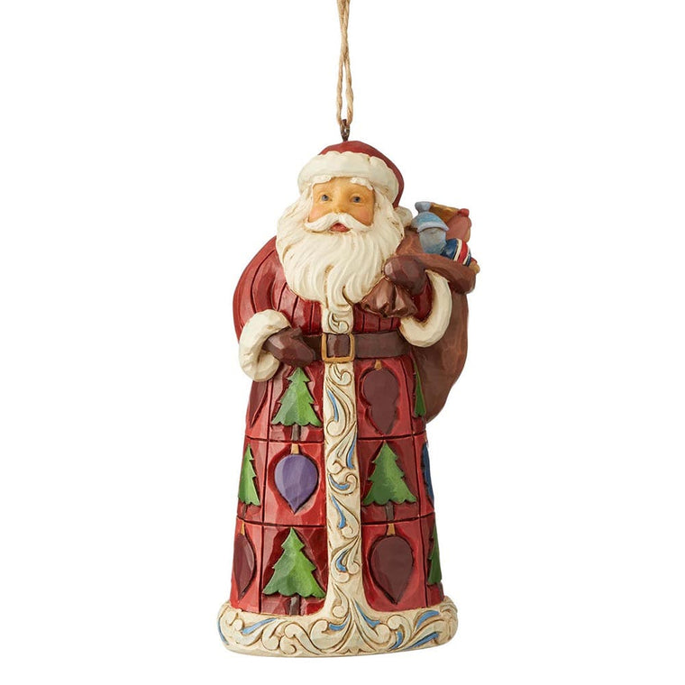 Santa with Toy Bag Hanging Ornament - Heartwood Creek by Jim Shore