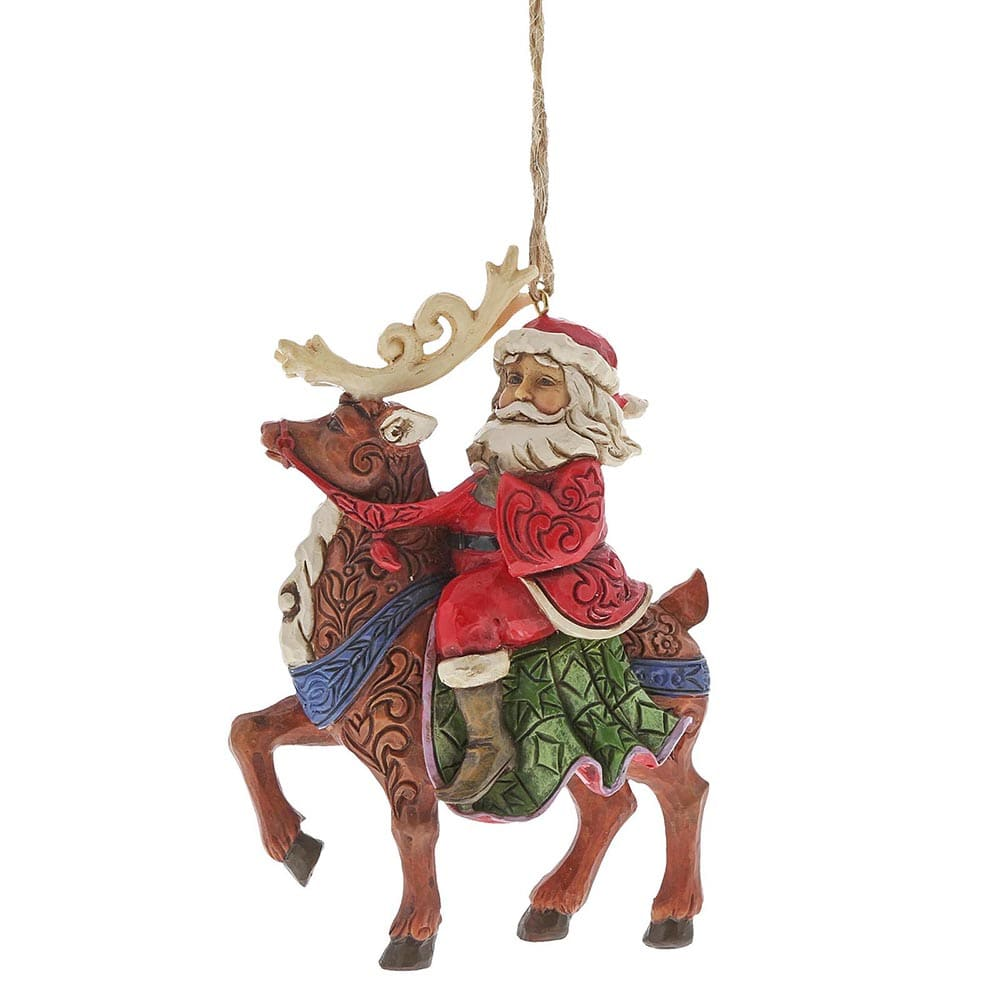 Santa Riding Reindeer Hanging Ornament - Heartwood Creek by Jim Shore