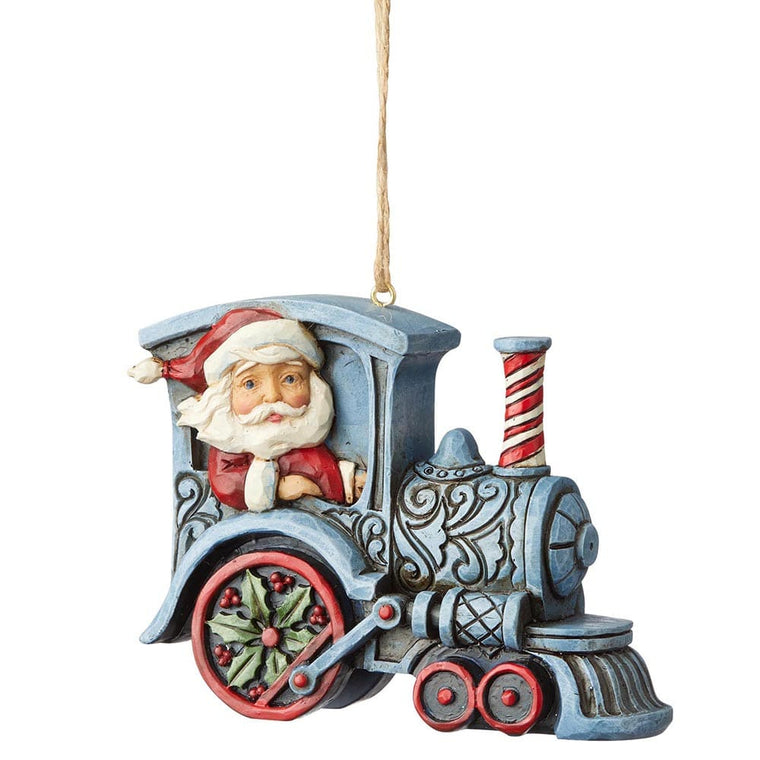Santa In Train Engine Hanging Ornament - Heartwood Creek by Jim Shore