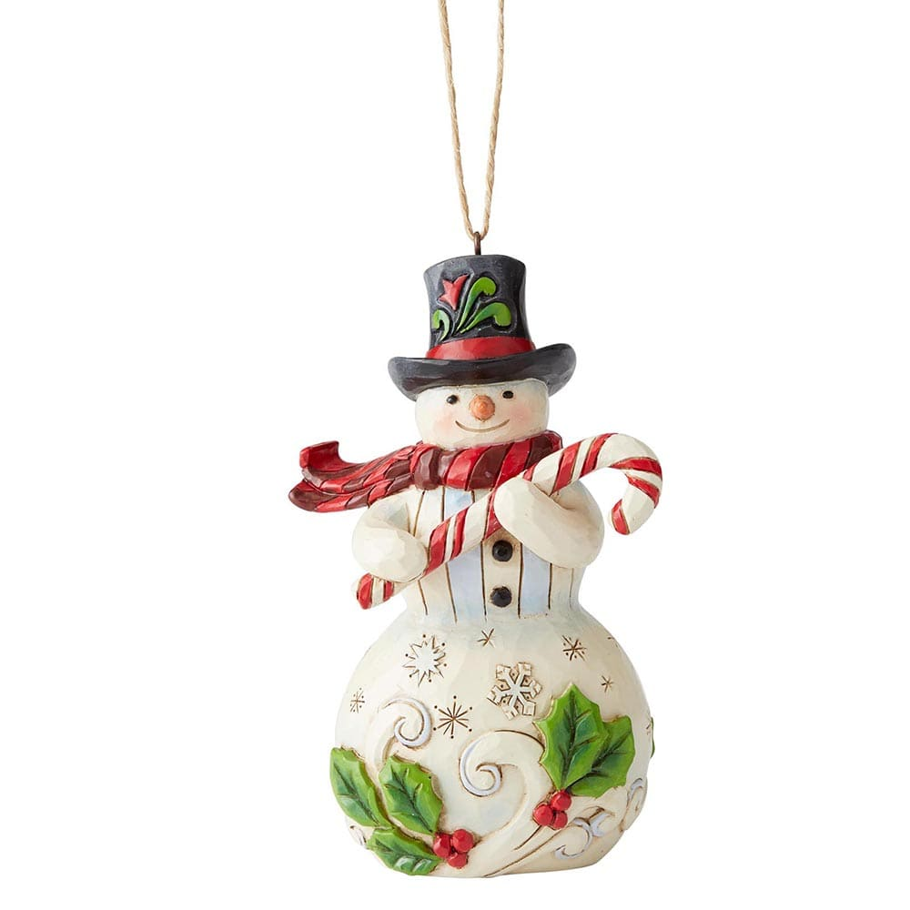 Snowman with Candy Cane Hanging Ornament - Heartwood Creek by Jim Shore