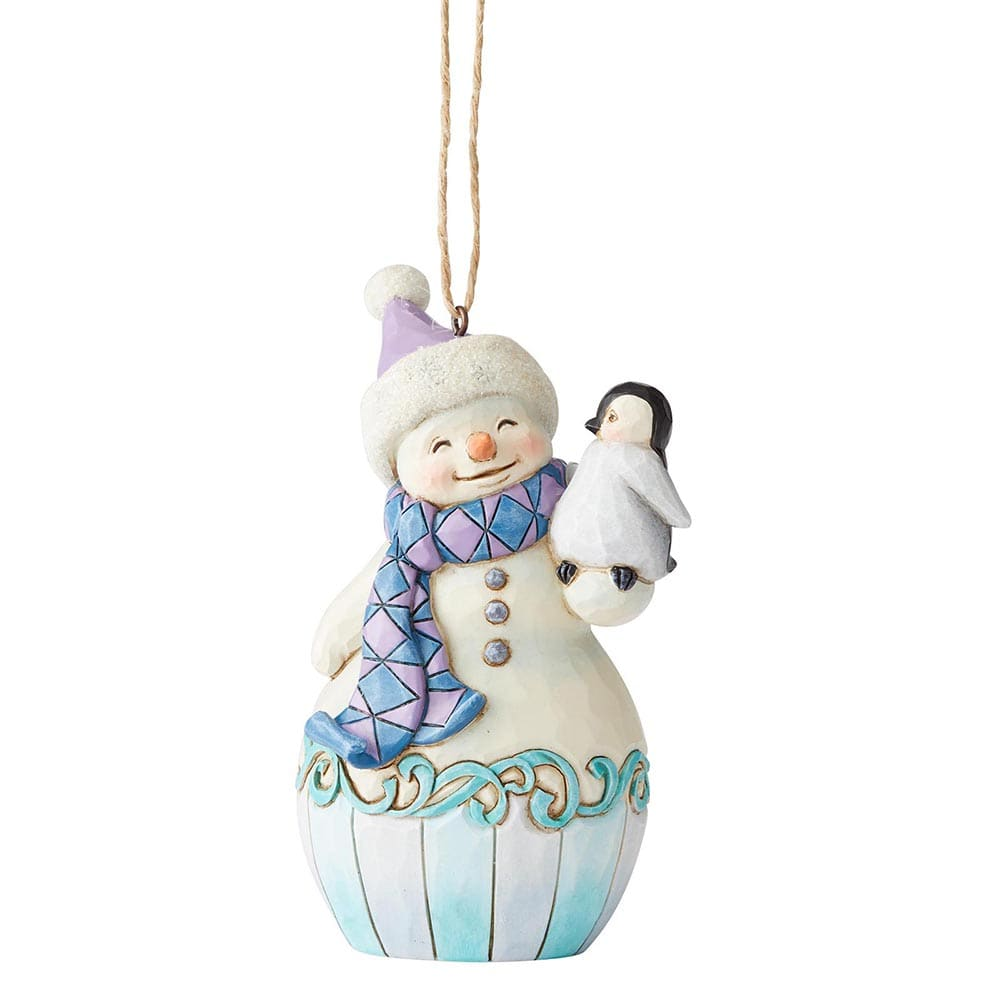 Snowman with Baby Penguin Hanging Ornament - Heartwood Creek by Jim Shore