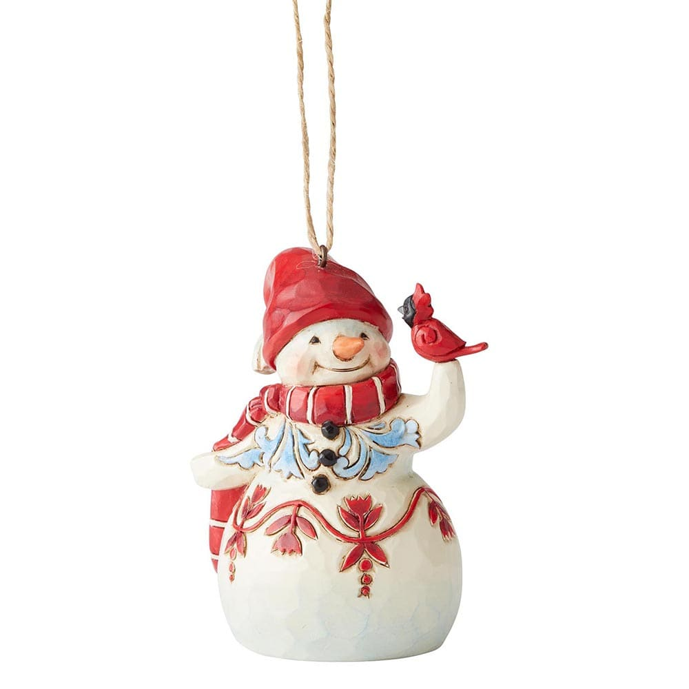 Mini Red and White Snowman Hanging Ornament - Heartwood Creek by Jim Shore