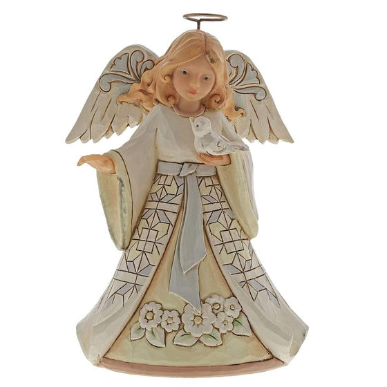 White Woodland Angel with Bluebird Pint-Sized Figurine - Heartwood Creek by JimShore