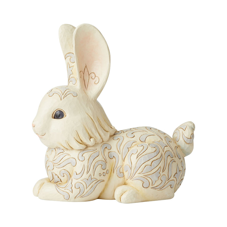 White Woodland Bunny Garden Statue - Heartwood Creek by Jim Shore
