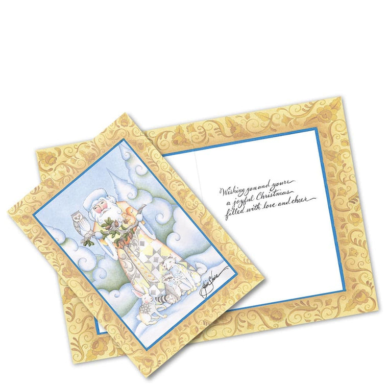 White Woodland Santa Greetings Cards by Jim Shore (Set of 10)