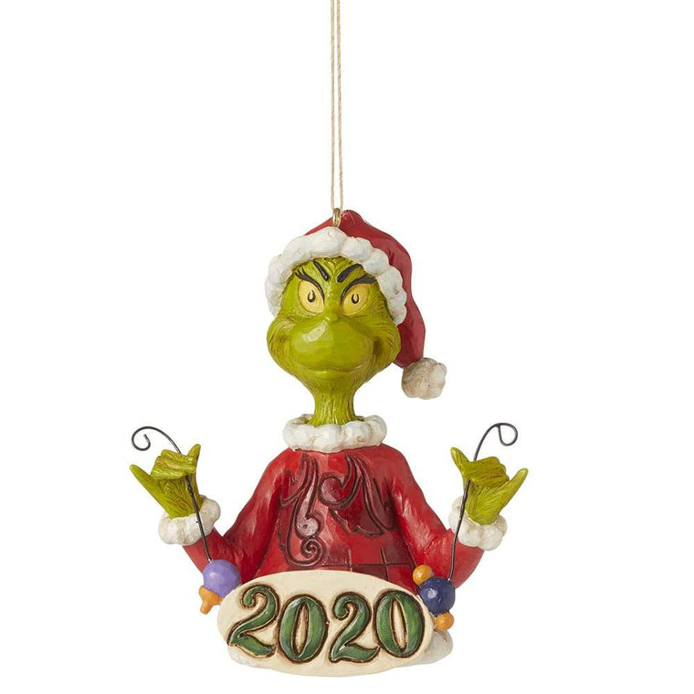 Grinch Holding String of Ornaments Hanging Ornament - The Grinch by Jim Shore