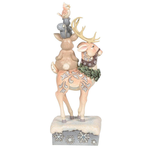 Winter Friends Make The Season Bright - Stacked Animals Figurine - Heartwood Creek by Jim Shore