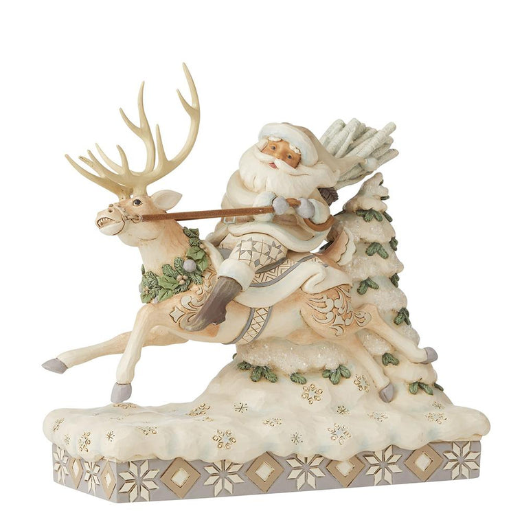 On Course For Christmas - Santa Riding Reindeer Figurine - Heartwood Creek by Jim Shore