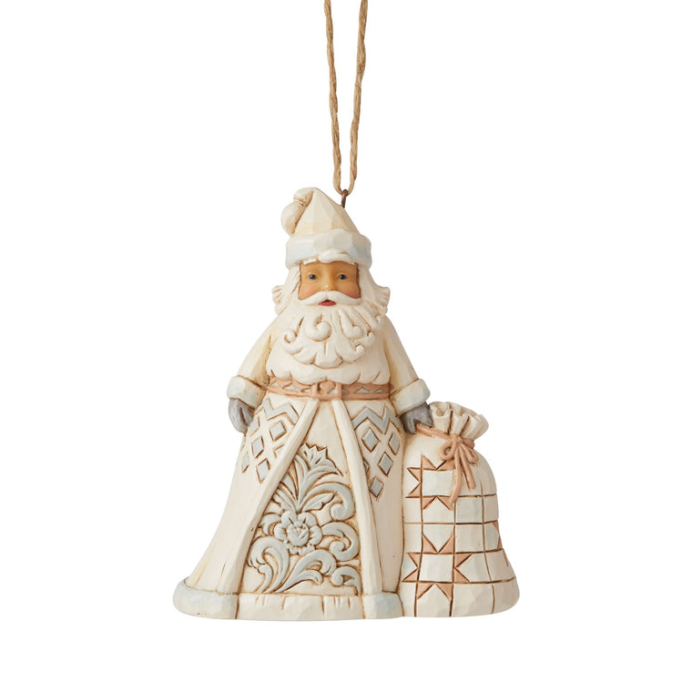 White Woodland Santa Hanging Ornament - Heartwood Creek by Jim Shore