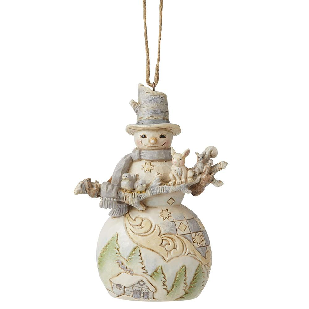 Snowman with Branch and Animals Hanging Ornament - Heartwood Creek by Jim Shore