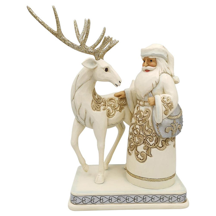 It Costs Nothing To Be Kind - Silver and Gold Santa with Reindeer - Heartwood Creek by Jim Shore