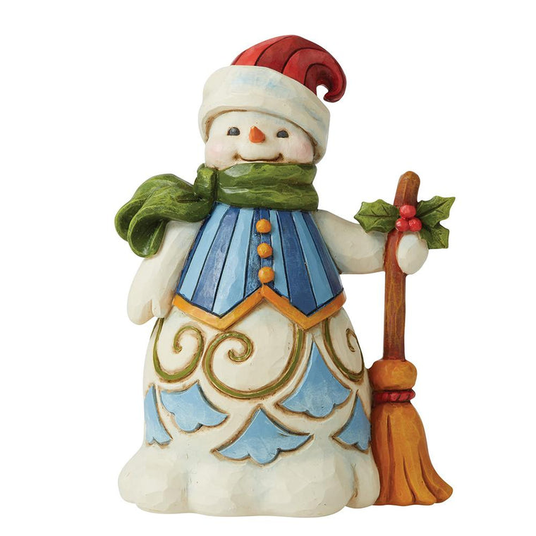 Snowman with Broom Pint-Sized Figurine - Heartwood Creek by Jim Shore
