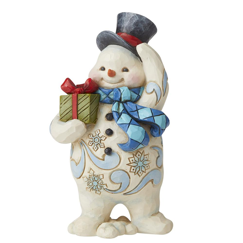 Walking Snowman with Gift Pint-Sized Figurine - Heartwood Creek by Jim Shore