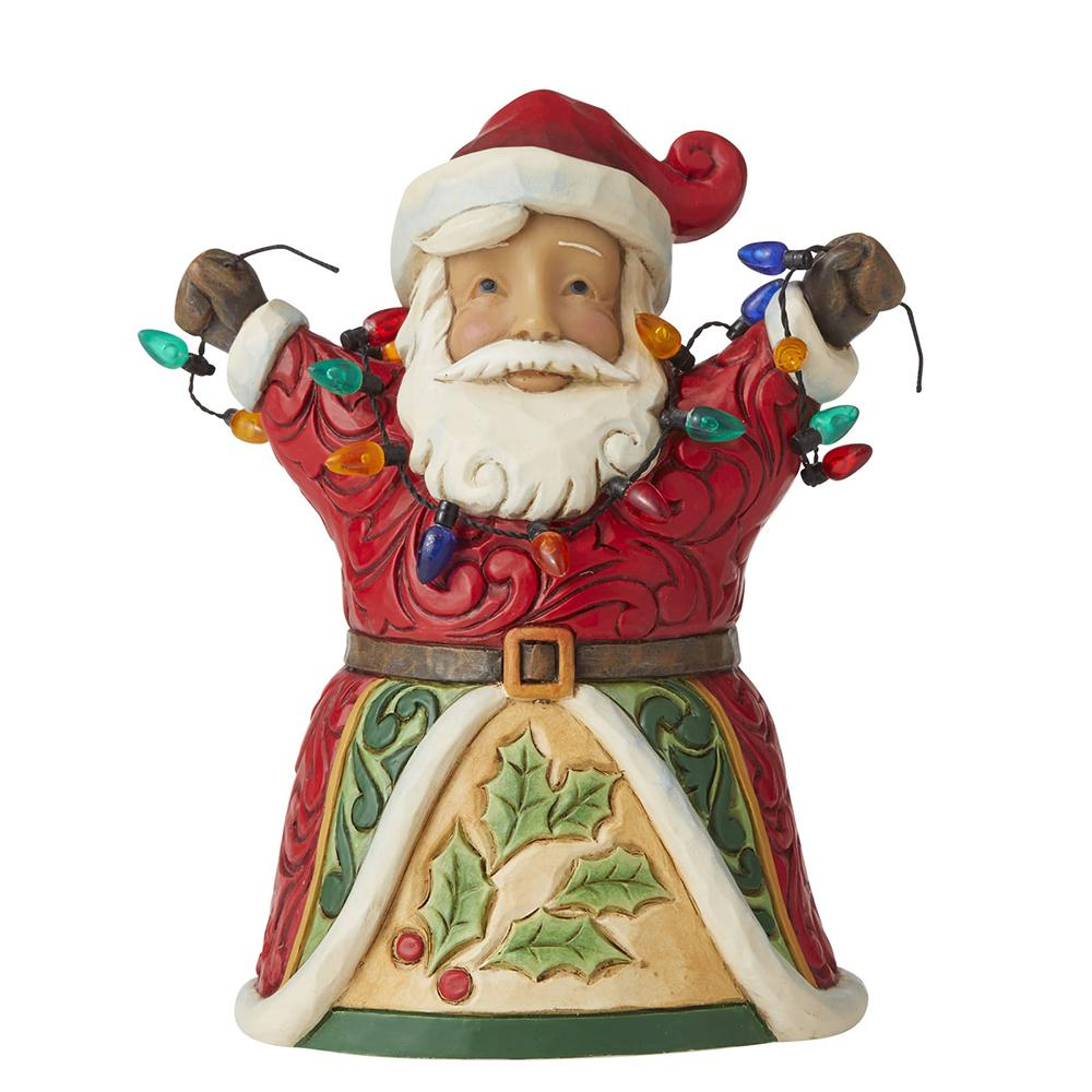 Jolly Santa with Arms Up Holding String of Lights Pint-Sized Figurine - Heartwood Creek by Jim Shore