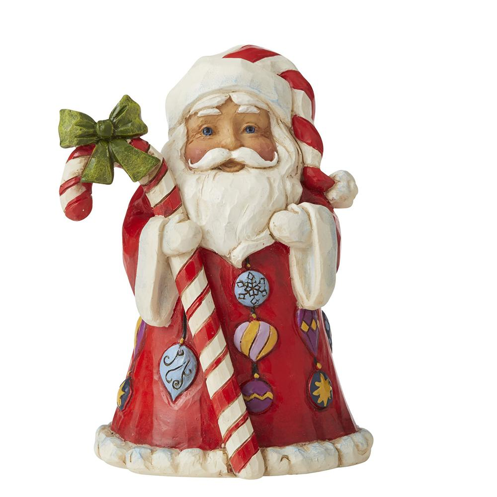 Santa with Big Candy Cane Mini Figurine - Heartwood Creek by Jim Shore