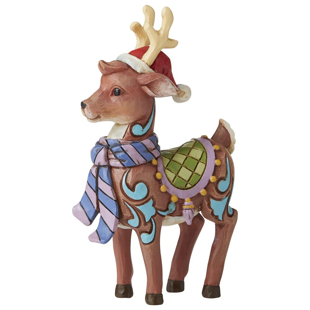 Reindeer with Scarf and Santa Hat Mini Figurine - Heartwood Creek by Jim Shore