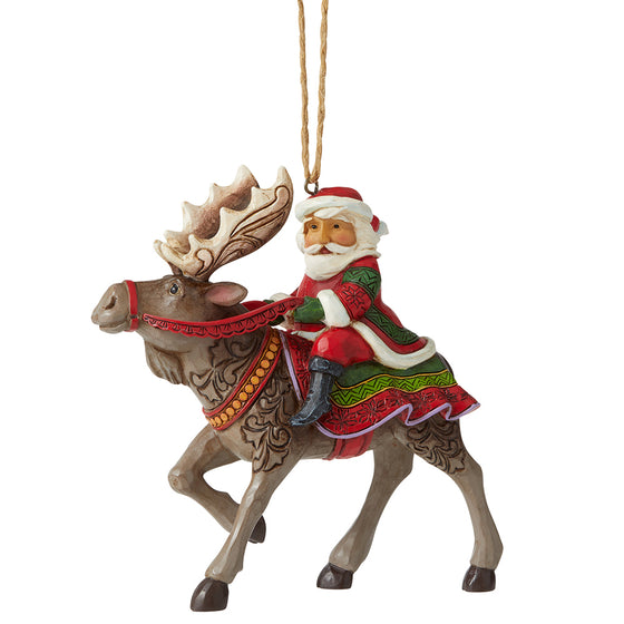 Santa Riding Moose Hanging Ornament - Heartwood Creek by Jim Shore