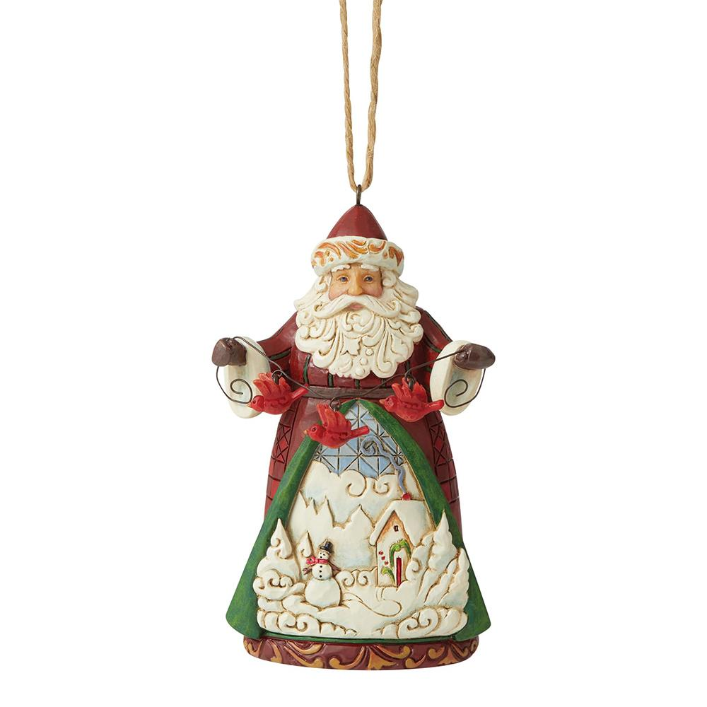 Santa with Cardinals Hanging Ornament - Heartwood Creek by Jim Shore