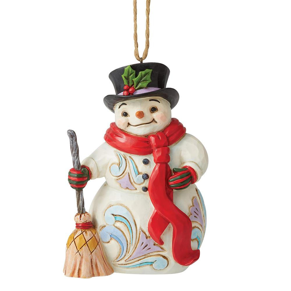 Snowman with Long Scarf and Broom Hanging Ornament - Heartwood Creek by Jim Shore