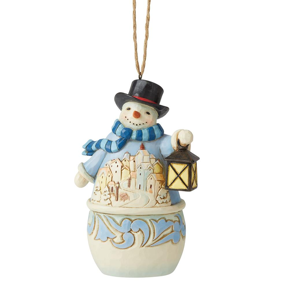 Snowman with Village Scene Hanging Ornament - Heartwood Creek by Jim Shore