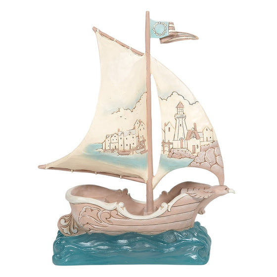 Sailboat with Scene on Sail Figurine - Heartwood Creek by Jim Shore