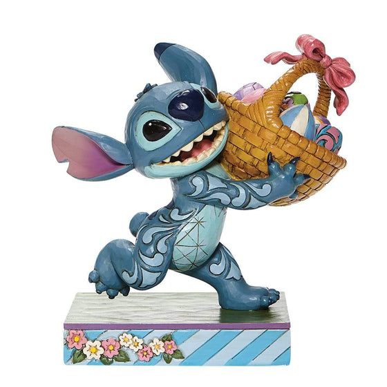 Bizarre Bunny- Stitch Running off with Easter Basket Figurine- Disney Traditions by Jim Shore