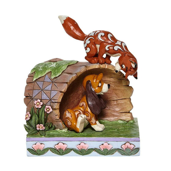 Unlikely Friends - Fox and Hound Log Figurine -  Disney Traditions by Jim Shore