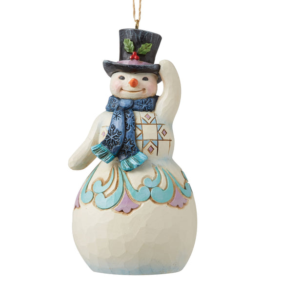 Snowman with Top Hat and Scarf Hanging Ornament - Heartwood Creek by Jim Shore