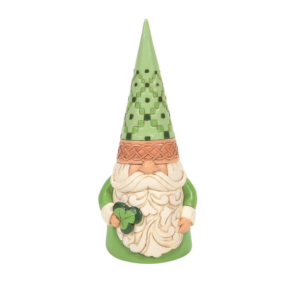 Irish Green Gnome Holding Shamrock Figurine - Heartwood Creek by Jim Shore