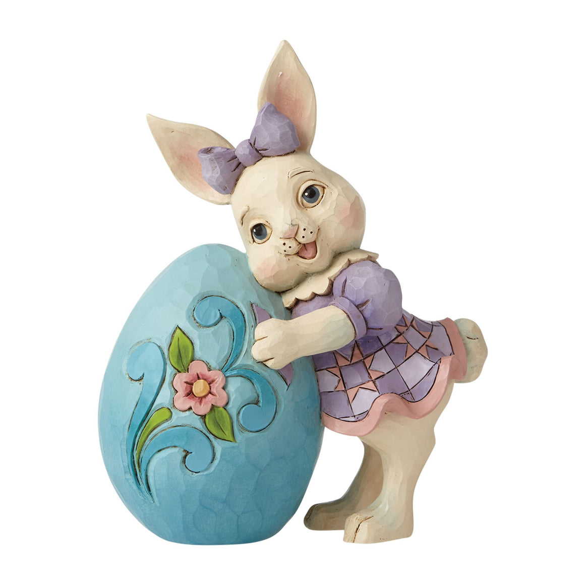 Pint Sized Girl Bunny Leaning on Egg - Heartwood Creek by Jim Shore