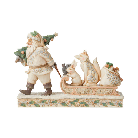 White Woodland Santa pulling sled with Animals - Heartwood Creek by Jim Shore