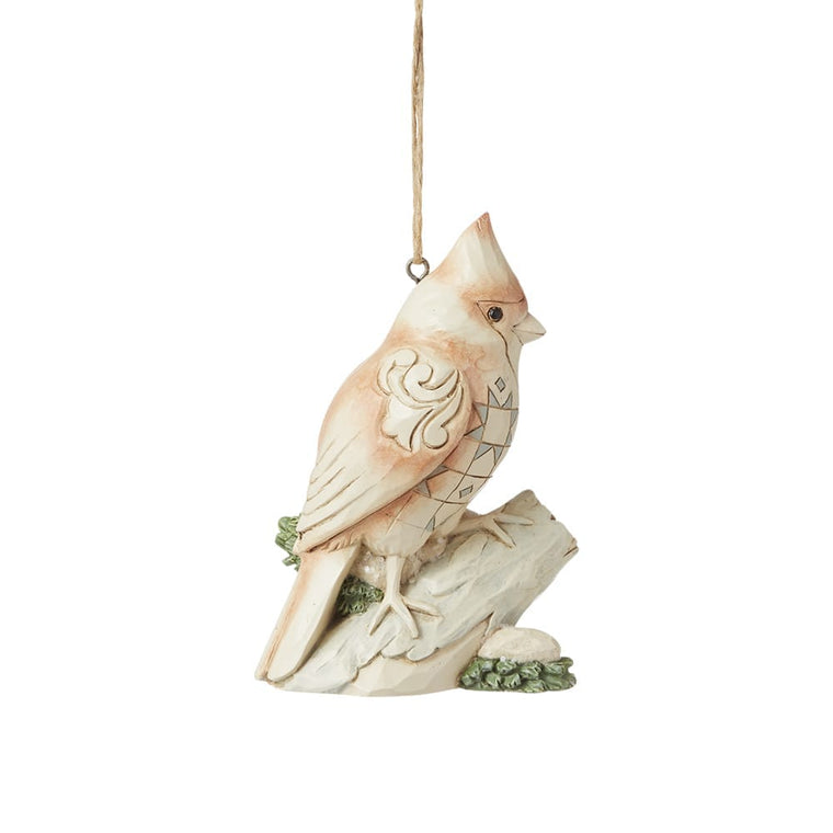 White Woodland Cardinal Hanging Ornament - Heartwood Creek by Jim Shore