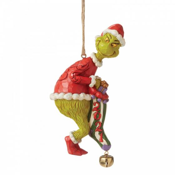 Grinch Dated Sock Hanging Ornament 2021 - The Grinch by Jim Shore