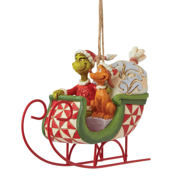 Grinch & Max in Sleigh Hanging Ornament - The Grinch by Jim Shore