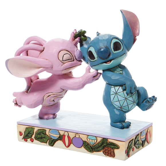 Mistletoe Kiss - Stitch and Angel with Mistletoe Figurine- Disney Traditions by Jim Shore